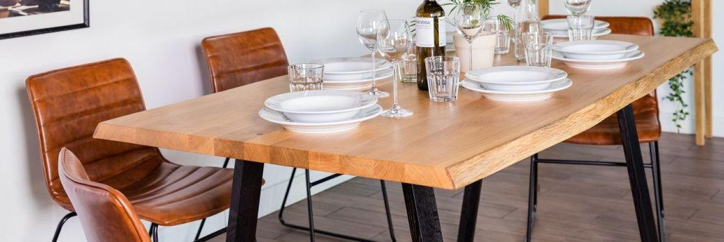 Konsole, stoły, stoliki. Blaty z litego drewna