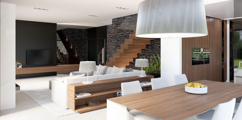 nowoczesny salon z jadalnią