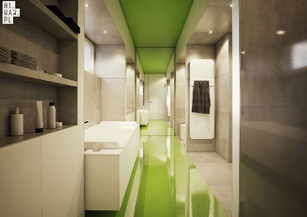 Łazienka główna, to kolejne zaskoczenie. Podłogę oraz sufit podkreślono zielonym kolorem. Posadzka została wykonana z wylewki żywicznej, dzięki czemu uzyskano jednolitą powierzchnię. Głównym elementem jest wanna, umieszczona w centralnym miejscu łazienki, nad szerokim oknem.