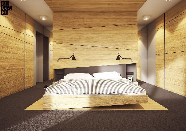 Główna sypialnia rodziców, to zwieńczenie minimalistycznej koncepcji aranżacji całego wnętrza.